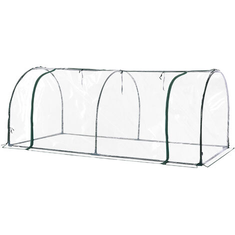 Outsunny Transparent PVC Tunnel Greenhouse Steel Frame 200L x 100W x 80H (cm)