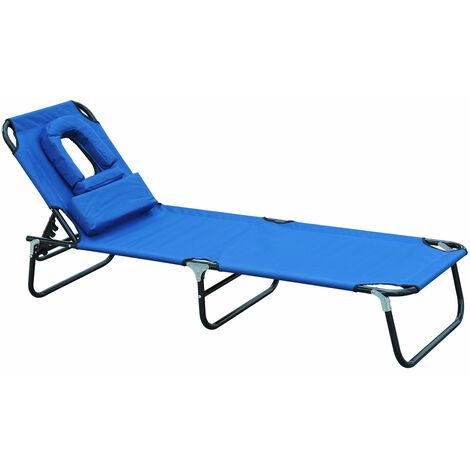 "main image of ""Outsunny Tumbona Inclinable de Acero Plegable con Almohada para Masaje Leer Azul - azul"""