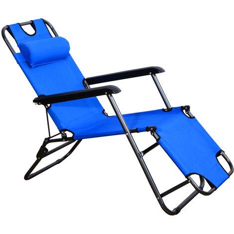 Outsunny Tumbona Plegable Inclinable Acero + Almohada Playa Camping Piscina Hamaca Azul
