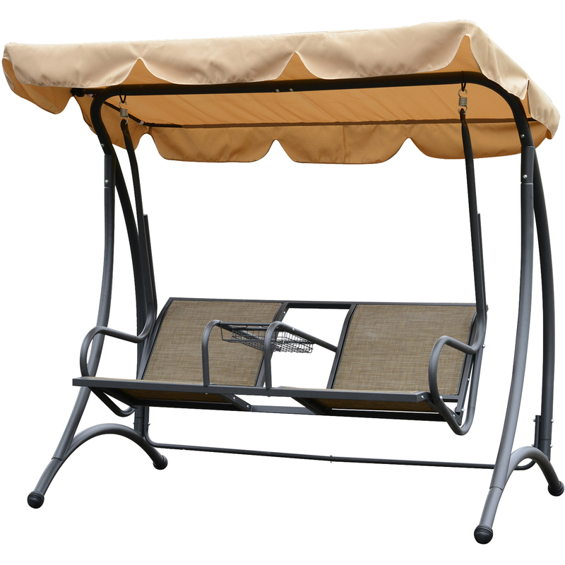 Outsunny Two Seat Outdoor Swing Chair Garden Lounger Canopy Cup Tray Brown