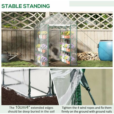 Outsunny Walk-in Greenhouse PVC w/ Shelves Metal Frame 143L x 143W x 195H (cm)