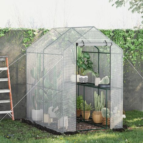"""main image of """"Outsunny Walk in Greenhouse w/ Mesh Cover 4 Shelves Steel Frame 215x200cm"""""""
