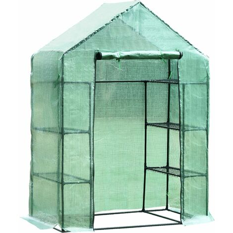 """main image of """"Outsunny Walk-in Greenhouse w/ Shelves Polytunnel Steeple Green - 143L x 73D x 195H (cm)"""""""
