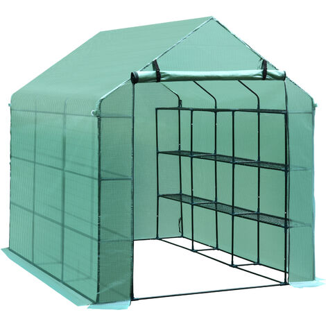 Outsunny Walk-in Greenhouse w/ Shelves Polytunnel Steeple Green Removable Cover