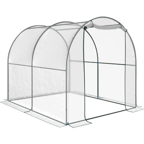 Outsunny Walk-in Transparent Dome PVC Greenhouse Steel Frame 250x200x200 (cm)