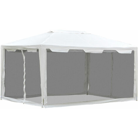 Outsunny Waterproof Garden Metal Gazebo Marquee Cover Shade w/ Mesh Sidewalls (4m x 3m)