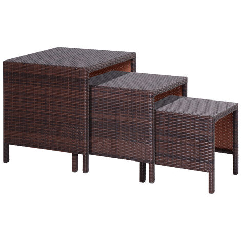 Outsunny Wicker Nesting Tables Side Tables Hand Woven All Weather Set of 3