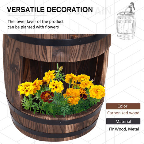 Outsunny Wood Barrel Pump Fountain Water Feature w/ Flower Planter Garden Outdoor Decor