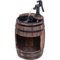 Outsunny Wood Barrel Pump Fountain Water Feature w/ Flower Planter Garden Outdoor Decor