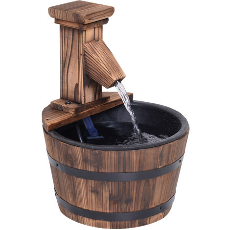 Outsunny Wood Barrel Pump Patio Water Fountain Water Feature Electric Garden Ornament