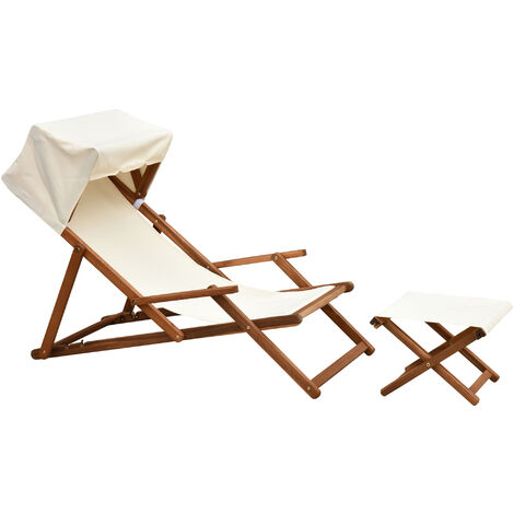 Outsunny Wood Deck Chair w/ Canopy Adjustable Back Footrest Water-Resistant