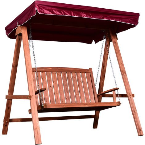 Outsunny Wooden 2-Seater Garden Swing Chair Outdoor Seat w/ Canopy Wine Red