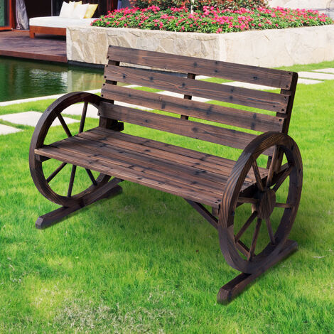 Outsunny Wooden Cart Wagon Wheel 2 Seater Garden Bench High Back Loveseat