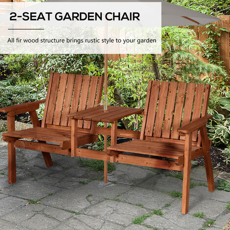 Outsunny Wooden Double Chair Table Seat Slatted All-In-One w/ Parasol Hole