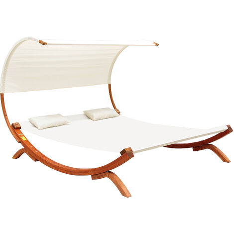 Outsunny Wooden Double Sun Bed Lounger Hammock Chaise Outdoor - Cream