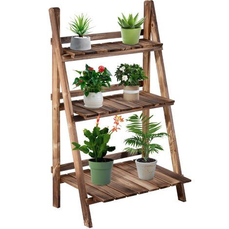 9085f4c1d5e7 Outsunny Wooden Folding Flower Stand 3 Tier Planter Display Ladder (60L x  37W x 93H
