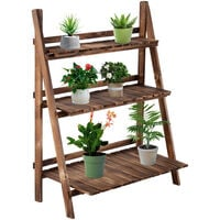 Outsunny Wooden Folding Flower Stand 3 Tier Planter Display Ladder (80L x 37W x 93H (cm))