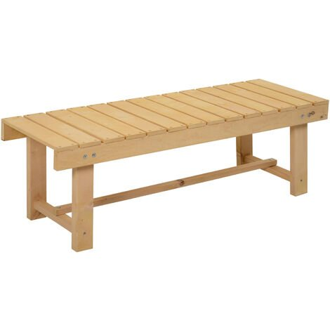 Outsunny Wooden Garden Bench Two-Seater Slatted Water-Resistant 35x110cm