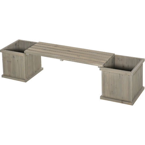 Outsunny Wooden Garden Planter & Bench Unit Outdoor Decorative Display Grey