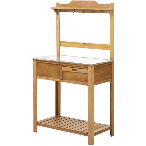 "main image of ""Outsunny Wooden Garden Potting Table Galvanized Workstation Sink Shelves Hooks"""
