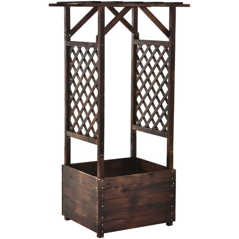 Outsunny Wooden Plant Flower Box Stand w/ Side Trellis Garden Display Organisation