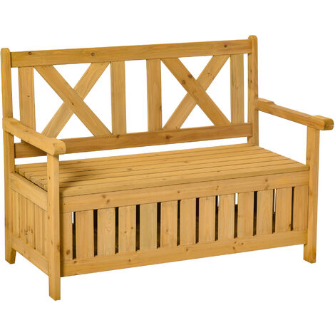 Outsunny Wooden Storage Garden Bench Patio Outdoor Seating Organiser
