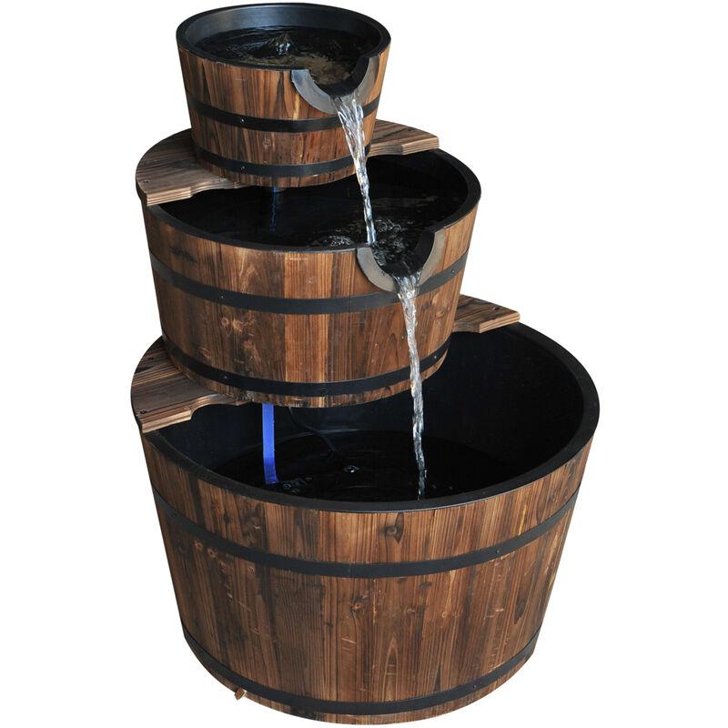 Outsunny Wooden Water Pump Fountain Cascading Feature Barrel Garden Deck -  3 Tier