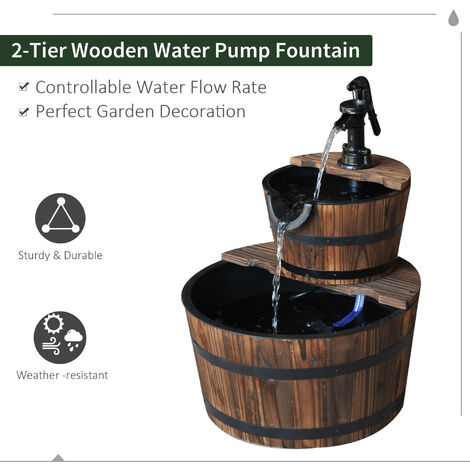 Outsunny Wooden Water Pump Fountain Cascading Feature Barrel Garden Deck