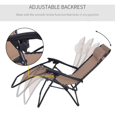 Outsunny Zero Gravity Chair Adjule Patio Lounge Reclininng Seat Garden