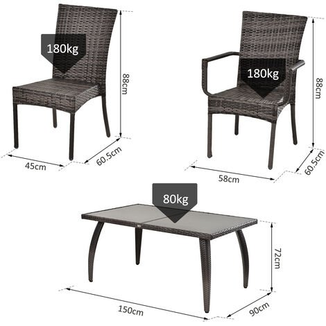 Outsuny 7 Pcs Garden Dining Set PE Rattan Wicker 6 Chairs Large Table Grey