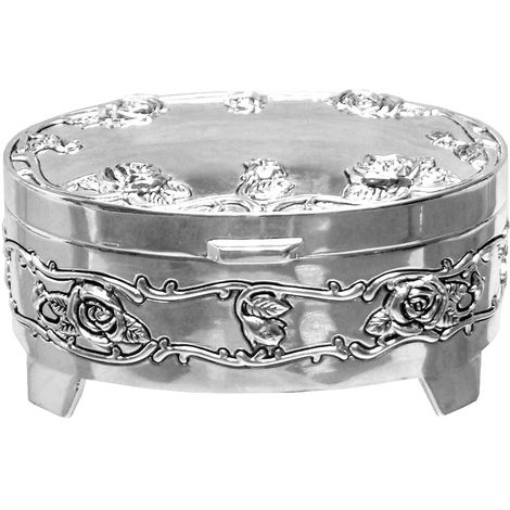 Oval Ant S/plated Trinket box with rose design