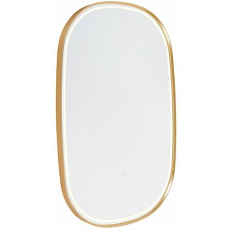 Oval bathroom mirror gold incl. LED with touch dimmer - Miral