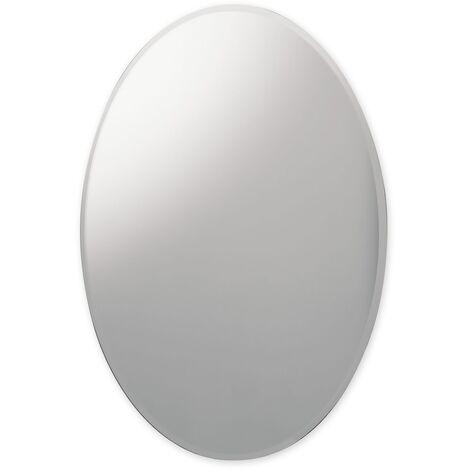 Oval Bevelled Edge Bathroom Mirror 550mm x 750mm Wall Mounted Stylish Versatile