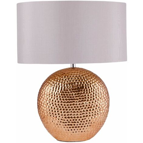 Oval Copper Chrome Ceramic Bedside Table Light with Grey or White Silk Shade