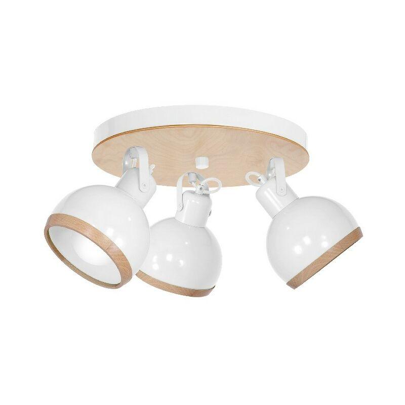 Homemania - Oval Deckenlampe - Deckenleuchte - mit 5 Lichtpunkten - Weiss aus Metall, Holz, 35 x 35 x 22 cm, 3 x E27, 60W