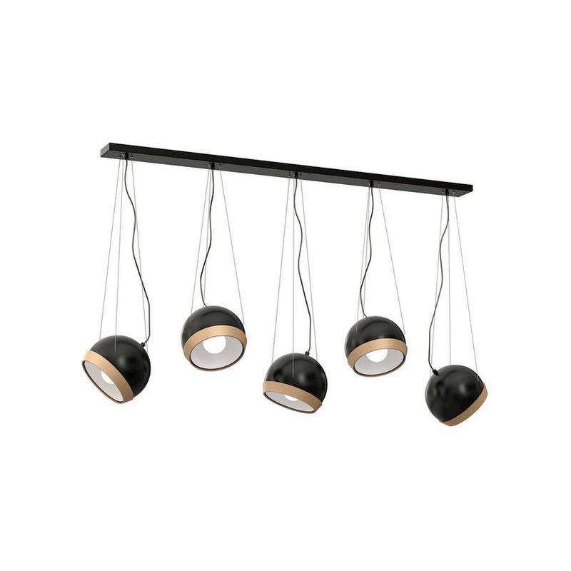 Homemania - Oval Haengelampe - Kronleuchter - Deckenkronleuchter - Schwarz aus Metall, Holz, 120 x 17 x 100 cm,