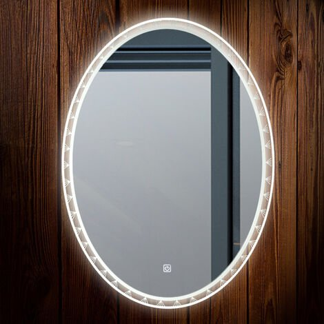 Oval LED Illuminated Bathroom Mirror with 3 Colors LED Touch Control