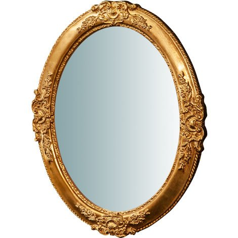 Oval Made in Italy wood made antiqued gold leaf finish horizontal/vertical Hanging Wall Mirror