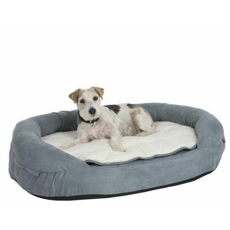 Oval Memory Foam Dog Bed - Grey L 117 x B 72 x H 24 cm