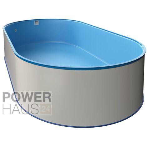 Oval-Pool-Set, Größe & Tiefe wählbar, 0,6mm Stahlwand, 0,6mm Poolfolie mit Einhängebiese, Edelstahl-Tiefbeckenleiter, Sandfilteranlage mit 6-Wege-Ventil, Filtersand, Skimmer- und Schlauch-Set