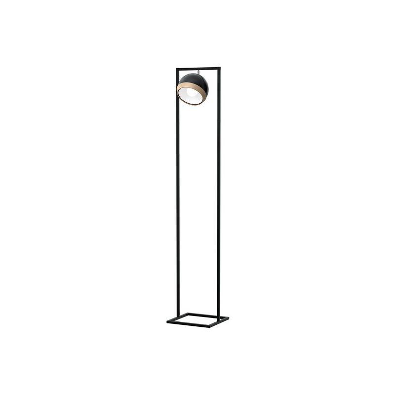 Oval Stehleuchte - Etage - Salon, Wohnzimmer - Schwarz aus Metall, Holz, 25 x 20 x 150 cm, - HOMEMANIA