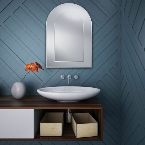 Oval Top Bevelled Edge Bathroom Mirror 500mm x 700mm Wall Mounted Stylish