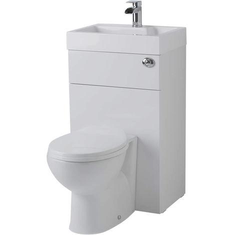 Ovale Toilette mit Spülkasten und integriertem Waschbecken - PRC145CB-C1