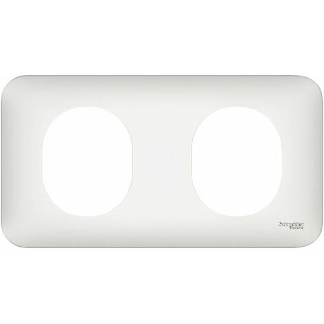 Ovalis plaque 2 postes Horizontal 71 mm Blanc, Schneider Electric réf. S260704