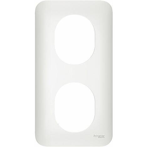 Ovalis plaque 2 postes Vertical 71 mm Blanc, Schneider Electric réf. S260724