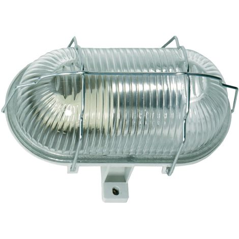 Ovalleuchte 60W/250V Strukturglas Gehäuse schlagfester Ku. Fassung E27