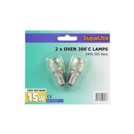 Oven Lamps SupaLite Oven Lamps 300C Blister Pack of 2 15w SES