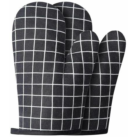Oven Moyts and BBQ Potholders Gloves-Gloves-Gloves and Pot Holder with Non-Slip Baking Gloves in Recycled Cotton Silicone for Grilling Baking (2-Piece Set, Black)