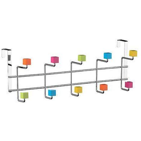 Over Door Hanger,10 Hook/Multi-Colour Plastic Cubes,Chrome