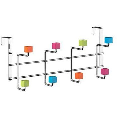 Over Door Hanger,8 Hook/Multi-Colour Plastic Cubes,Chrome